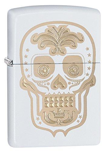 Zippo Pocket Lighter White Matte Gold Sugar Skull Pocket Lighter