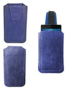 Generic Premium Leather Fabric Pull Up Pouch for - Asus Zenfone 2 Laser (ZE601KL) - Blue - PUPBL60#0144DR