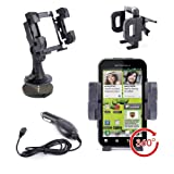 DURAGADGET Wobble Resistant Windscreen Car Cradle Mount And Car Charger Kit For Motorola RAZR MAXX, Motorola Motosmart, Motorola RAZR, Motorola Defy, Motorola DROID RAZR M 4G, Motorola DROID 4 4G & Motorola Wilder