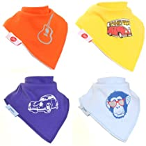 Zippy Fun Bandana Bibs for Babies and Toddlers (Retro Cool for Boys) (Pack of 4)