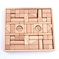 Wooden Blocks – iPlay, iLearn wood block set Natural Wooden Stacking Cubes Blocks 72 PCS