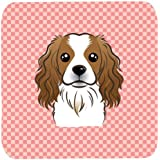 "Caroline's Treasures BB1224FC Checkerboard Pink Cavalier Spaniel Foam Coaster (Set Of 4), 3.5"" H X 3.5"" W, Multicolor"