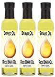 Bravo Oil - Rice Bran Oil, 100% Pure, 3-8.5oz Glass Bottles, Made in USA.
