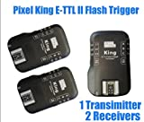 PIXEL King Wireless Radio E-TTL II E-TTL Flash Trigger for Canon DSLRs & Flashes, 1 x Transmitter + 2 x Receiver Kit