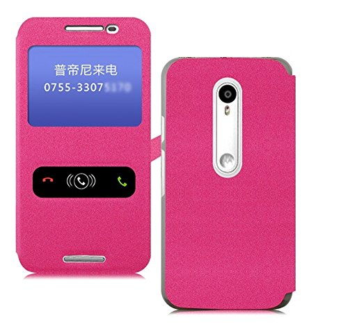 Heartly GoldSand Sparkle Luxury PU Leather Window Flip Stand Back Case Cover For Motorola Moto G G3 3rd Generation - Cute Pink