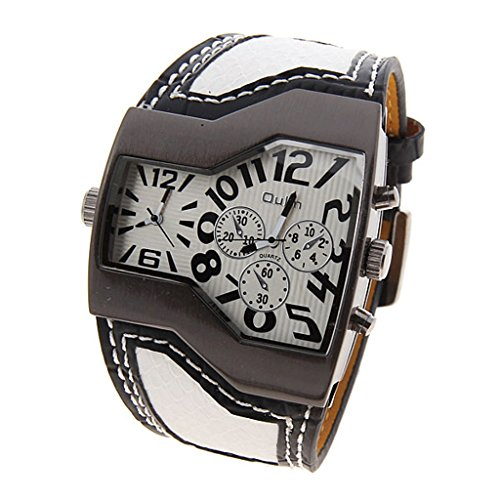 Oulm Military Men'S Watch With Dual Movt Dial Leather Band Unique Quartz Analog Dial Men Watch (White)