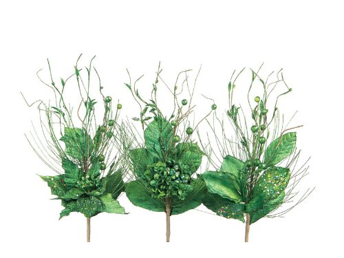 Club Pack of 12 Green Poinsettia, Amaryllis &