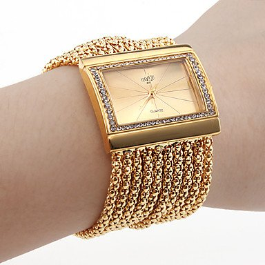 Women'S Gold Diamond Case Alloy Band Bracelet Watch