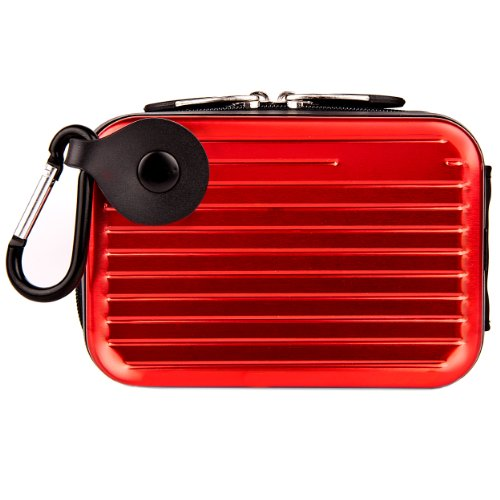 Fire Red VG Pascal Edition Durable Camera Carrying Case with Protective Hard Metallic Exterior for Fujifilm Finepix JZ200 JZ100 JX550 JX500 Z110 JX370 Z900EXR Z90 Z91 XP30 JX300 JX305 JX350 /JX355 JV200 JV205 Z800EXR Z808EXR JV100 JV105 JV150 Compact Digital Camera + Universal Anti Glare Clear Screen Protector + Cellet 4G SD Memory Card