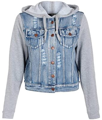 WOMENS JERSEY SLEEVE HOOD LIGHT WASH FRAYED RIPPED JEAN ...