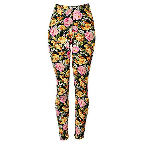 Falari High Quality Women Printed Leggings Pink Yellow Rose