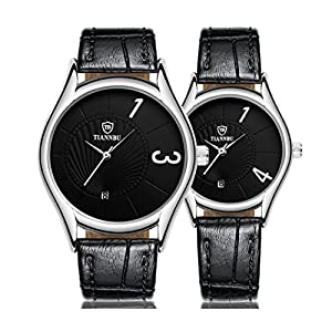 Sinma Couples Watches, Luxurious Classic Timepiece Romantic Ultrathin Leather Black Wrist Quartz Watches for Couples Men Women Set of 2 Pcs for wedding,Anniversary,Valentine' Day, Birthday, Christmas