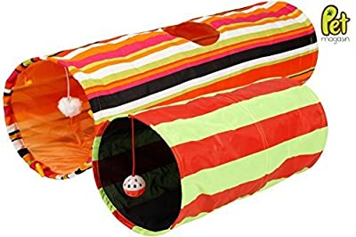 [Extra 40% OFF for Holiday Season] Collapsible Cat Tunnel Toys (2-Pack) - Pet Tunnels and Tubes With Crinkle Peep Hole Design for Small Medium & Large Cats Dogs and Other Small House Animals by Pet Magasin