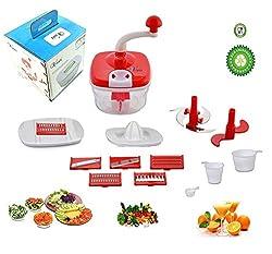 Vivir Original Dual Speed Red Multi-Function Food Processor, Dough Maker, Juicer, Vegetable Nicer Slicer Dicer