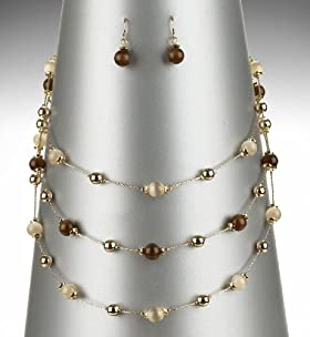 Gold Plated Multi-Strand Necklace & Earring Set