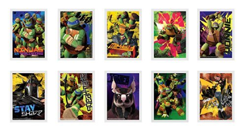 Teenage Mutant Ninja Turtles Vending Stickers (Complete Set of 10) - Includes Michaelangelo, Leonardo, Donatello, Raphael, Splinter, Shredder and April - 1