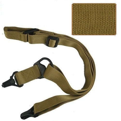 HFIRE Tactical 1 Point Or 2 Point AK47 AR15 M4 Rifle Sling Airsoft Sling with 20mm Adapter - Sand