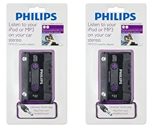 Pack of 2 Philips USA Ph-62050 Cd/mp3/md-to-cassette Adapter 3.5mm Plug
