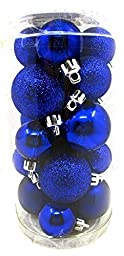 Holiday Time Mini Ornament Set,shatterproof Shiny Bulbs with Glitter,20x (Cobalt Blue) by Walmart