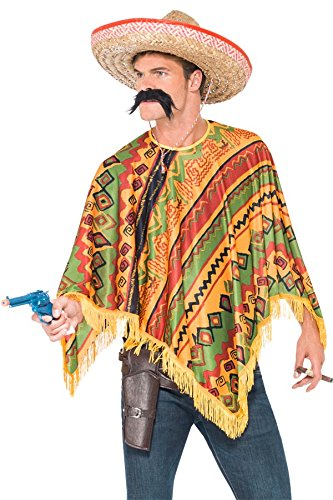 Smiffy's Men's Poncho Instant Kit with Moustache