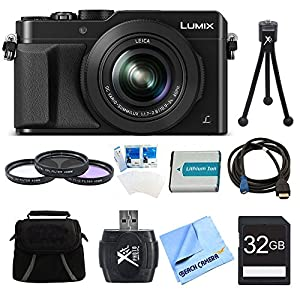 Panasonic LUMIX LX100 DMC-LX100K DMCLX100K Integrated Leica DC Lens Black Camera 32GB Filter Kit Bundle - Includes Camera, 32GB Memory Card, Bag, 43mm Filter Kit, Battery, SD Card Reader, HDMI to Micro-HDMI AV Cable, Mini Tripod, Screen Protectors, and Mi