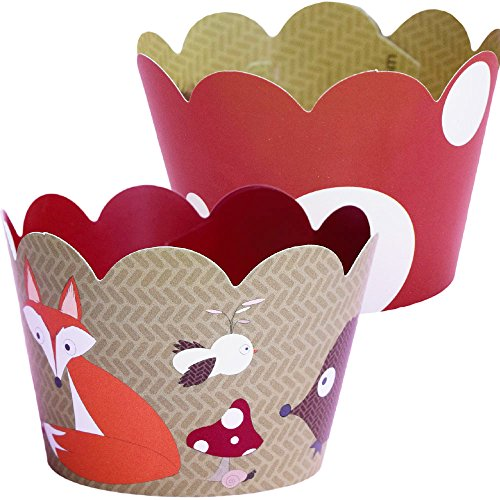 Woodland Animal Cupcake Wrappers, Red and White Polka Dot, Camping Theme, Confetti Couture Party Supplies, 36 (Baking Party Theme compare prices)