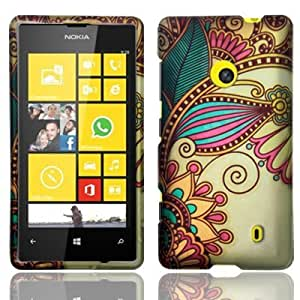 For Nokia Lumia 521 Hard Design Cover Case Antique Flower Accessory