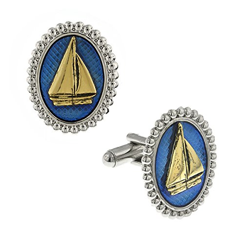 1928 Mens Blue Enamel Oval Sail Boat Cufflinks (Gold And Silver-Tone)