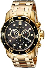 Invicta Men39s 80064 Pro Diver Chronograph Charcoal Dial 18k Gold Ion-Plated Stainless Steel Watch