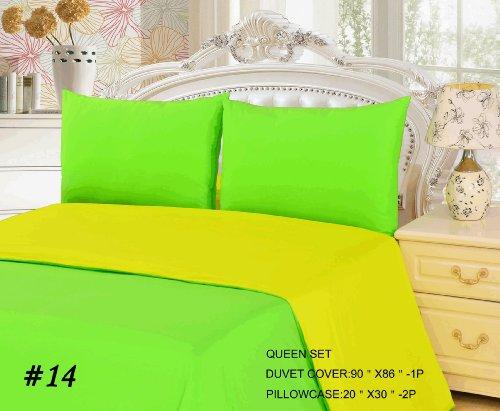 Tache 3 Piece 100% Cotton Solid Yellow And Green Lemon Lime Reversible Duvet Cover Set, Queen front-187463