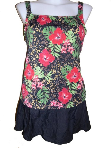 Womens Plus Size Tankini Skirtini Swimsuit, Penbrooke, Red Tropical W/black 18-26w