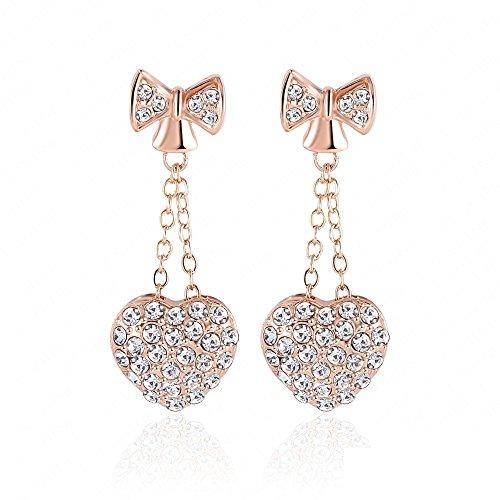 vycloud (TM) lzeshine Brand Sweet Heart Bow orecchini pendenti placcati oro rosa 18K con Swarovski Elements Orecchini pendenti per le donne er0215-a