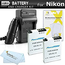2 Pack Battery And Charger Kit For Nikon COOLPIX S9500 P300 P310 S9300 S6300 S9200 P330 P340 AW120 S9700 Digital Camera Includes 2 Extended Replacement (1100Mah) EN-EL12 Batteries + Ac/Dc Rapid Travel Charger + LCD Screen Protectors + More