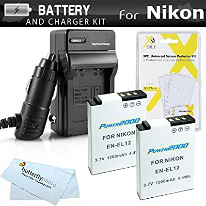 2-Pack-Battery-And-Charger-Kit-For-Nikon-COOLPIX-S9500-P300-P310-S9300-S6300-S9200-P330-P340-AW120-S9700-Digital-Camera-Includes-2-Extended-Replacement-(1100Mah)-EN-EL12-Batteries-+-Ac/Dc-Rapid-Travel-Charger-+-LCD-Screen-Protectors-+-More