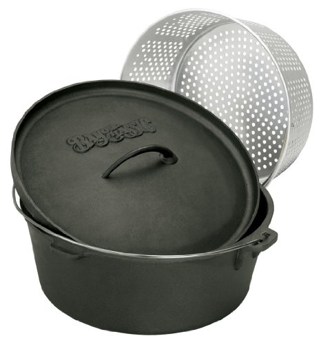 Bayou Classic 16-Quart Cast Iron Dutch Oven With Dutch Oven Lid And Perforated Aluminum Basket