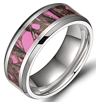 8mm Men's Pink Forest Camo Camouflage Titanium Ring Polished Beveled Edges Comfort Fit Wedding Band