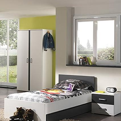 Kinderzimmer Jugendzimmer Kindermöbel weiß anthrazit Kleiderschrank Nachttisch
