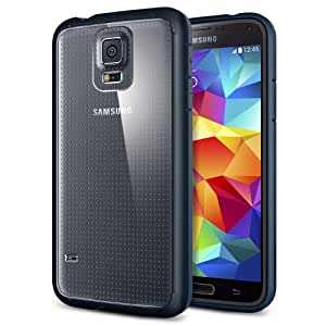Galaxy S5 Case, Spigen® [AIR CUSHION] [+Screen Shield] Samsung Galaxy S5 Case Bumper ULTRA HYBRID Series [Metal Slate] Clear Back Panel Protective Bumper Case with 4-Point Rear Guard + Air Cushion Technology Corners + Full HD Japanese Screen Protector for Galaxy S5 / Galaxy SV / Galaxy S V (2014) - ECO-Friendly Packaging - Metal Slate (SGP10742)