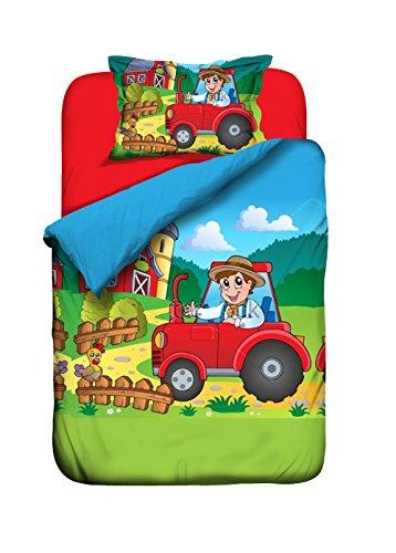 aminata kids bettw sche 100x135 roter traktor bauernhof bauer kinderbettw sche kinder jungen. Black Bedroom Furniture Sets. Home Design Ideas