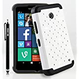RANZ� Black/White Spot Diamond Studded Silicone Rubber Skin Hard Case For Nokia lumia 635, Nokia lumia 630 + Touch Stylus