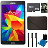 "Samsung Galaxy Tab 4 Black 8GB 7"" Tablet, 32GB Card, and Case Bundle - Includes tablet, 32 GB Micro SD Memory Card, 7-8"" Sleeve for Tablets, Audio Earbuds with Microphone, 3 Stylus Pens with Pocket Clip, and 3pc. Lens Cleaning Kit"