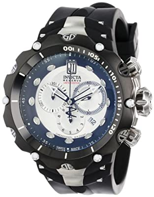 Invicta Men's 14419 Jason Taylor Reserve Chronograph Silver Dial Black Polyurethane Watch