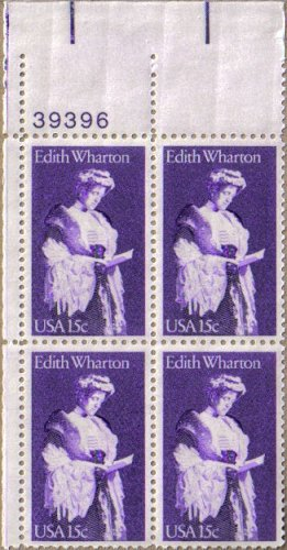 EDITH WHARTON ~ PULITZER PRIZE ~ WRITER #1832 Plate Block of 4 x 15 cents US Postage Stamps