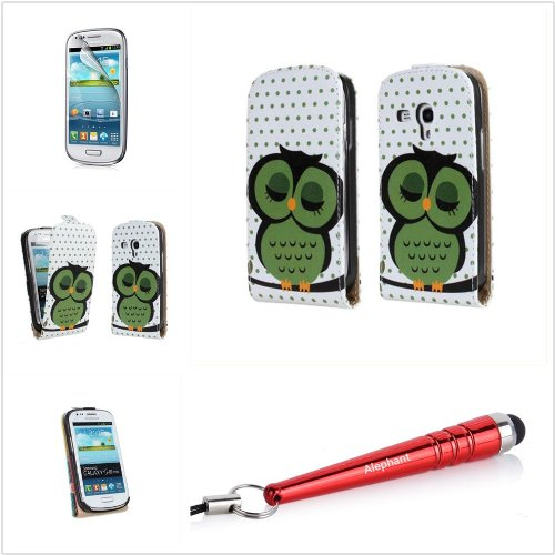 Alephant Pu Leather Night Owl Book Case Cover With Cardholder For Samsung Galaxy S3 Mini I8190 With Free Baseball-Style Stylus Pen + Free 3-Gear Separate Phone Stand + Free Super Clear Scratch Resistant Screen Protector + Free Anti-Dust Phone Plug (Sleepi