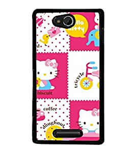printtech Kitty Funny Cute Back Case Cover for Sony Xperia C , Sony Xperia C HSPA+ C2305