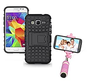 Aart Hard Dual Tough Military Grade Defender Series Bumper back case with Flip Kick Stand for Samsung G360 + Aux Wired Mini Pocket Selfie Stick by Aart store.