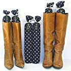 Boot Trees - Boot Shapers - Boot Stands Perfect For Closet Organization - Universal - For Tall Boots - Short Boots - UGG Boots - Cowboy Boots - For Women & Men - Perfect Gift Idea For Birthdays, Mother's Day, Christmas or Anniversary - Plush Fabric - Stylish And Perfect For Boot Organization - Never Again Have Your Boots Falling Over On Each Other, Getting Damaged Or Piled Up In The Closet - One Pair - Comes With Complementary Black Tie-On Wood Tags For Custom Personalization - LIFETIME GUARANTEE - SATISFACTION GUARANTEED Or Your Money Back - (SEVERAL COLORS/PATTERNS TO CHOOSE FROM - SELECT BELOW) - Navy Blue With White Polka Dots