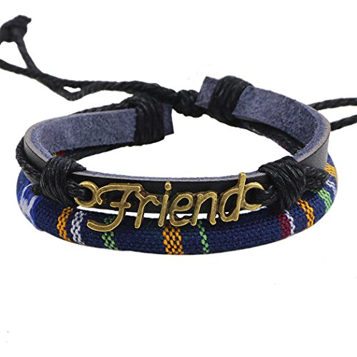 Real Spark Women Men Corded Friendship Charm Adjustable Weave Leather Wrap Bracelet (Customized Friendship Bracelets compare prices)