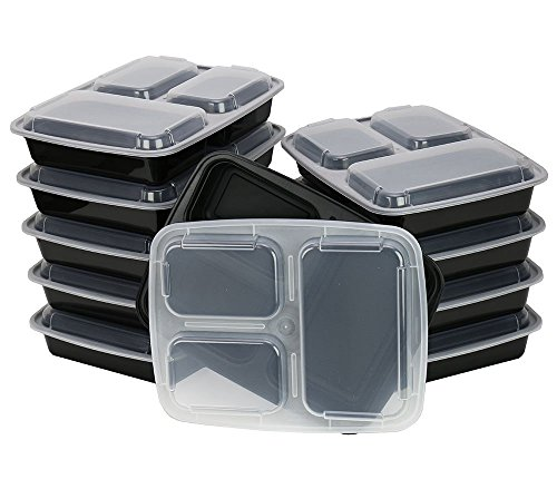 ChefLand 3-Compartment Microwave Safe Food Container with Lid/Divided Plate/Bento Box/Lunch Tray with Cover, Black, 10-Pack (Divided Containers For Lunch compare prices)