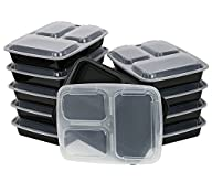 ChefLand 3-Compartment Microwave Safe Food Container with Lid/Divided Plate/Bento Box/Lunch Tray…